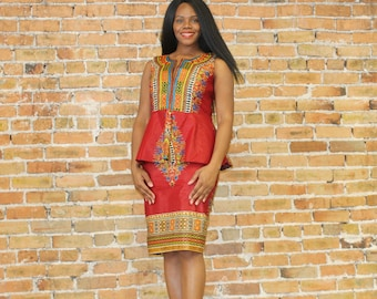 Two Piece Dashiki Peplum and Mini Skirt
