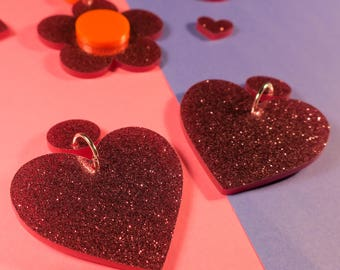 Pink Glitter Heart Earrings - laser cut acrylic