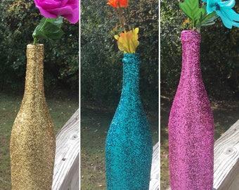 3 Solid Color Glitter Bottle Vases / Glitter Vase / Glitter Home Decor / Glitter Centerpiece / Glitter Flower Vase / Gift Idea / Accent Vase