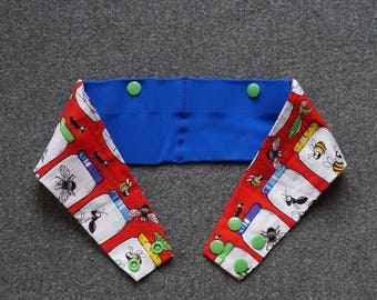 Type 1 Diabetes Insulin Pump Belt. Red with Bugs in Jars. Blue Pockets. FREE SHIPPING