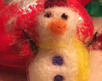 Miniature Needle Felted Christmas Snowman