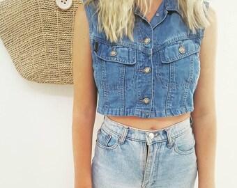 90's Denim Vest // Vintage Crop Button Up Top // Womens Size 6-8