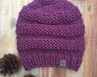 Slouchy Knit 'Messy Bun' Hat