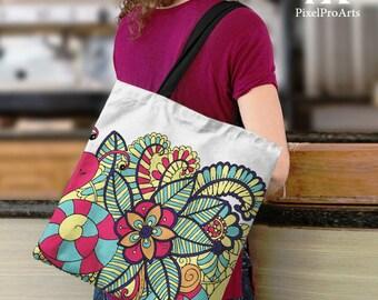 Doodling Floral Tote Bag / Fashion Tote Bag / Stylish Tote Bag / Gift for her / printed tote bag / modern bag / trending tote bag