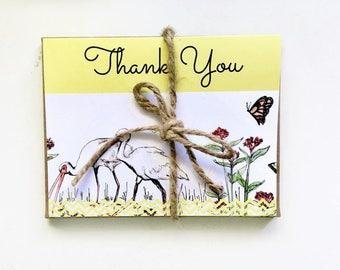 Bird lover gift! Thank you notes set - tropical ibis shore beach bird, original watercolor thank you stationary | thank you set of 6 cards