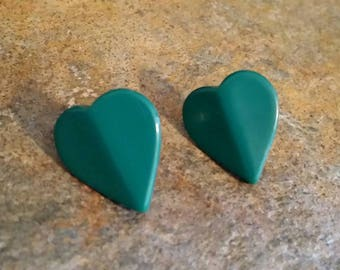 Vintage Green Melamine Heart Post Earrings