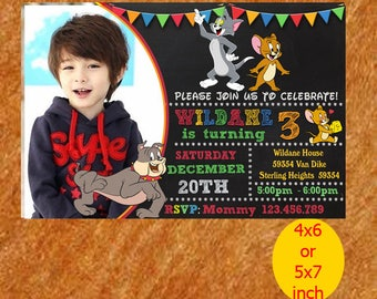 Tom And Jerry Invitation, Birthday Invitation, Kids