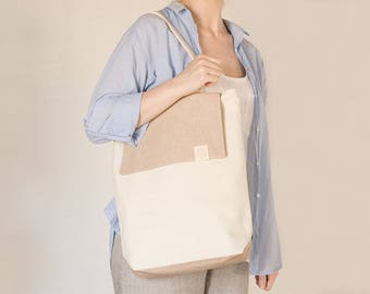 V E R A - Tote bag with flap handmade with 100% organic cotton canvas