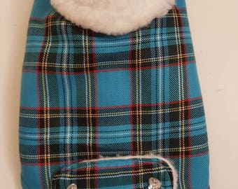 Sapphire Blue Tartan Fluffy Lined Dog Coat - Extra Small