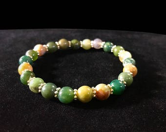 Indian Agate 8mm Bracelet Dainty Beautiful Zen Positive Energy Stones Vibes