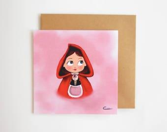 Postcard little Red Riding Hood