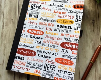 Gift for Him— Beer Notebook — Fabric Covered Book — Blank Journal — Blank Notebook — Blank Planner — Personal Journal — Gift — Beer Journal