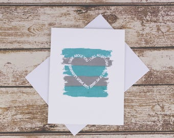 Teal and Gray Love Card, Romantic Card Boyfriend, Boyfriend Card, Anniversary Card, Card For Girlfriend, I Love You Card, Love You Card