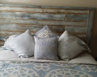 Rustic Wooden Headboard Blue & Grey - Hand Distressed -King Size