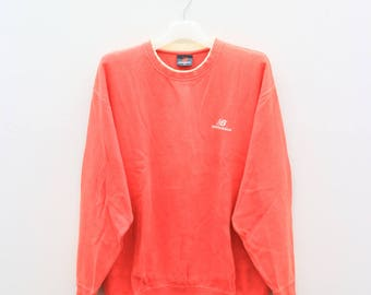 Vintage NEW BALANCE Sportswear Small Logo Red Sweater Sweatshirt Size XL