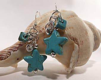 Turquoise silver earrings, silver earrings, boho style, turquoise earrings, chunky earrings, drop earrings, hoop earrings, dangle earrings