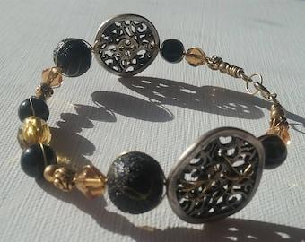 Double Button Gold Black Bracelet
