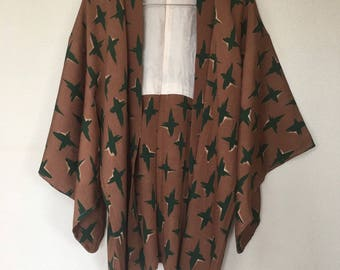 Vintage Japanese  kimono Jacket, Silk crepe Haori,cross pattern on light brown /0046