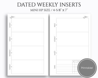 "Apr-June 2018 Dated Weekly Printable Planner Inserts, Q2, Horizontal WO2P w/ Habit Tracker, PDF ~ Mini Happy Planner / 4.6"" x 7"" (WBH)"
