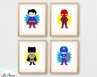 Superhero Wall Art | Etsy
