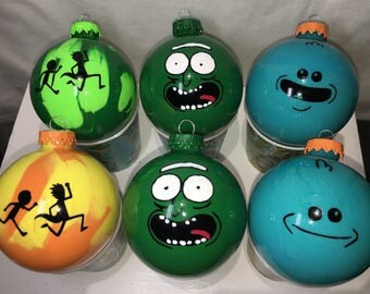 Limited Rick and Morty Christmas ornament set of 6 Pickle Rick Mr Meeseeks Glass USPS Priority Mail