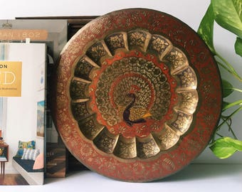 Brass Peacock Plate, Vintage Decor, Dubai