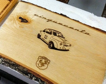 Fiat 500 Abarth Wood Engraving