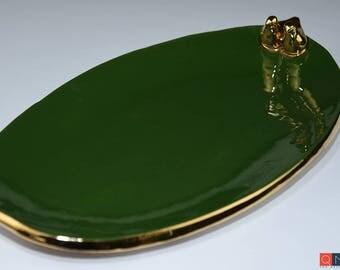 Gold-birds Platter, Large Oval Green Plate, Handmade Luxury Ceramic, Melbourne