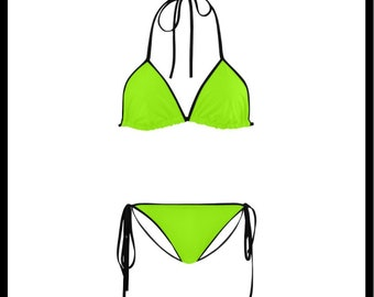 Lime Green and Black Classic String Bikini