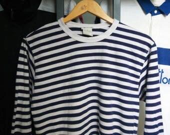 RARE! AGNES B France Navy Stripe Longsleeve T-Shirt
