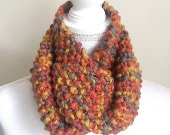 Wool Blend Gradient Knit Infinity Scarf