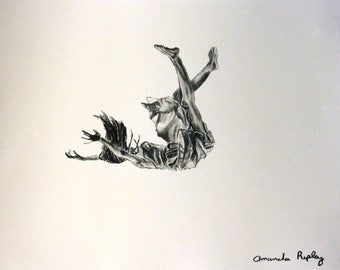 "Limited edition print, ""Falling"", 11x14, Print of woman, Print of Girl, Print of Female, Original Artwork Print, home decor, black and white"
