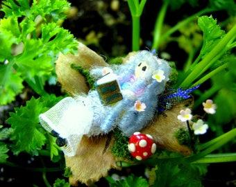 Miniature Reading Fairy-Nutshell Miniatures-Faries-Nutshells-Faeries-OOAK
