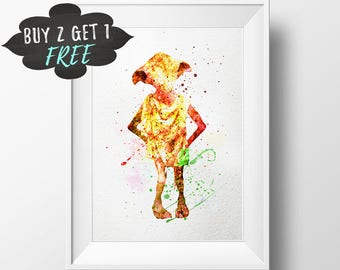 Harry Potter Wall Art, Dobby Poster Artwork, Dobby Art Print, Harry Potter Decor Printable Watercolor Download, Boys Room Nursery Decor