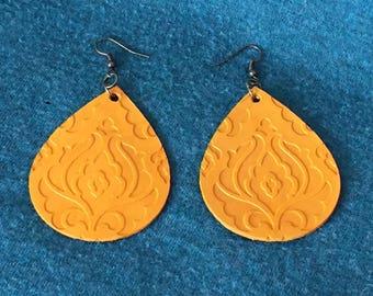 Handmade Leather Embossed Teardrop Earrings