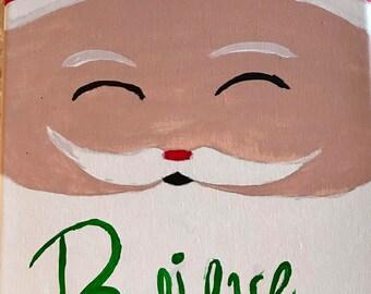 "Santa Canvas art with word "" Believe"""