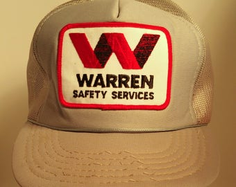 70s Warren Safety Services Industrial Silver Gray Mesh Trucker Snapback Hat Construction Retro Graphics Promotional Logo Business Patch USA