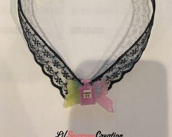 Sweet Classic Lolita Harajuku Kawaii Black Lace Rainbow Gradient Glittery Perfume Bottle Charm Bowknot Necklace [S36]