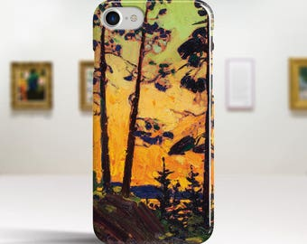 """Tom Thomson, """"Pine Trees at Sunset"""". iPhone 6 Case Art iPhone 7 Case iPhone 8 Plus Case and more. iPhone 6 TOUGH cases. Art iphone cases."""