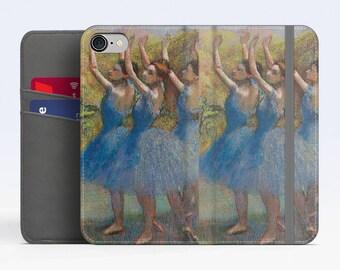 "Edgar Degas, ""Three Dancers in Purple Skirts"". iPhone 8 Wallet case, iPhone 7 Wallet case  iPhone 6 Plus Wallet case. Samsung Wallet cases."