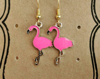 Pink Flamingo Gold Plated Earrings