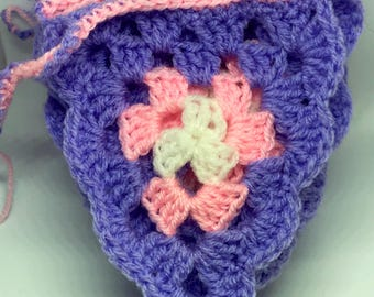 Purple Crocheted Bunting