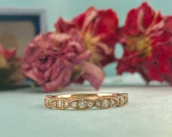 Diamond and Rose Gold Wedding Band  Antique Vintage Style Wedding Ring. 14k Rose Gold