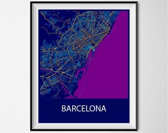 Barcelona Map Poster Print - Night