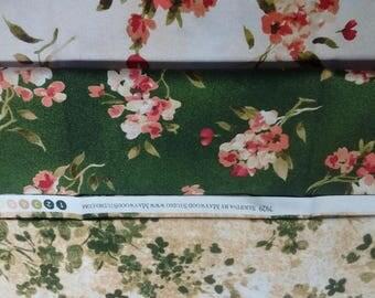 Lot 3 Fat Quarters Maywood Studio Serifina Line Rich and Gorgeous Cotton Greens Florals