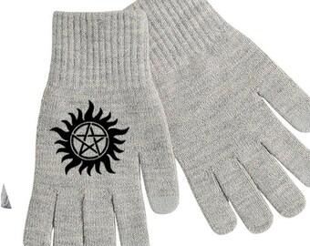 Supernatural Winchester Pentagram Touch Screen Compatible Texting Stretch Knit Gloves Winter Clothes Horror Halloween Merch Massacre