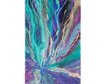 """Original abstract resin painting """"Ribbons of Hera"""" 80cm by 53cm"""