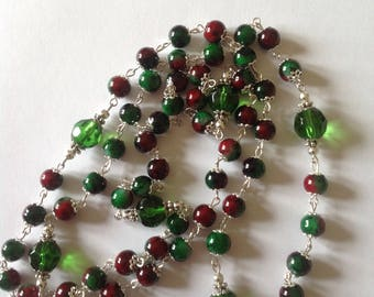 Long green necklace flapper necklace long necklace green necklace red necklace beaded necklace fashion necklace handmade necklace