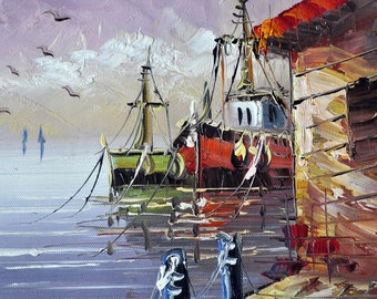 Oil painting, picture gift, painting on the wall, painting ships, painting sea, painting calmness, painting for holiday, картина маслом