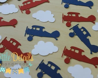 Vintage Airplane Table Confetti. Airplane Party Decorations.  Airplane Birthday